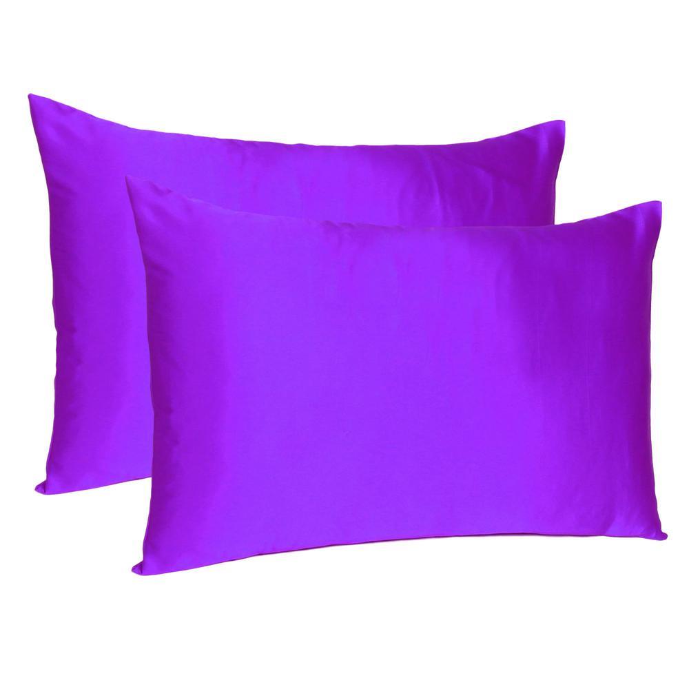 Bright Purple Dreamy Set of 2 Silky Satin Queen Pillowcases - 387907. Picture 1