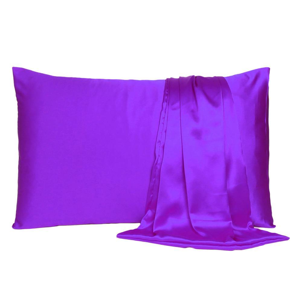 Bright Purple Dreamy Set of 2 Silky Satin Queen Pillowcases - 387907. Picture 2