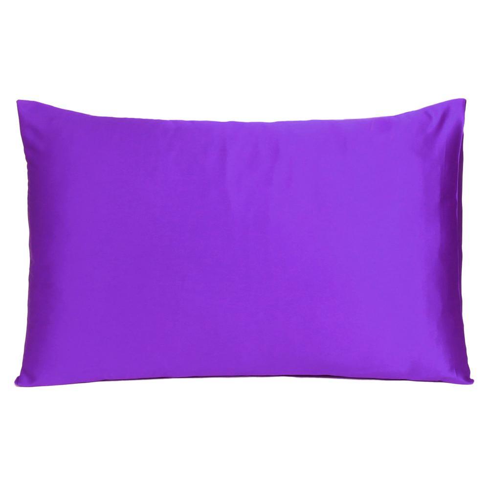 Bright Purple Dreamy Set of 2 Silky Satin Queen Pillowcases - 387907. Picture 3