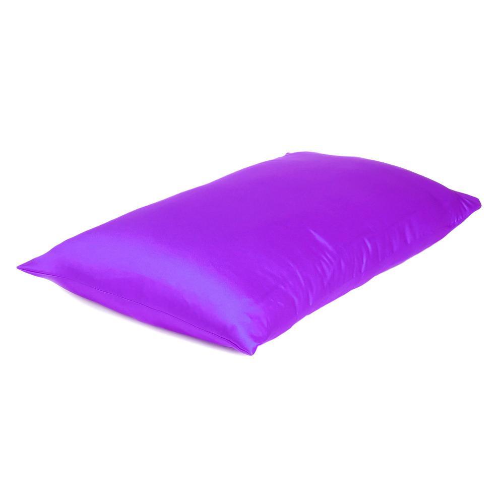 Bright Purple Dreamy Set of 2 Silky Satin Queen Pillowcases - 387907. Picture 4