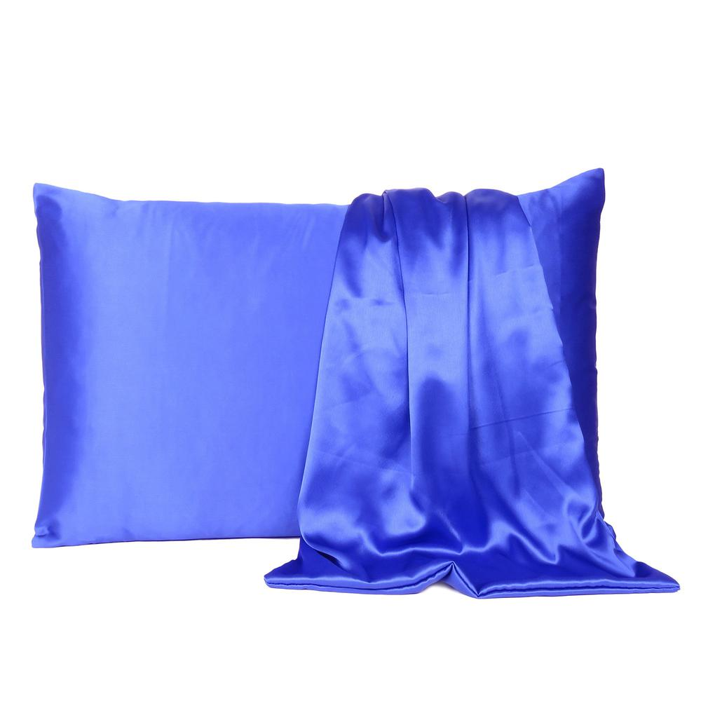 Royal Blue Dreamy Set of 2 Silky Satin Queen Pillowcases - 387908. Picture 2