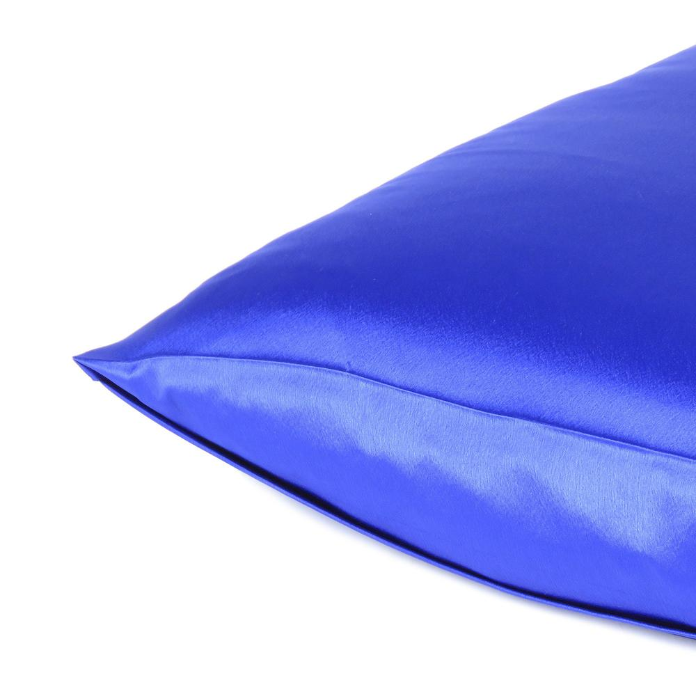 Royal Blue Dreamy Set of 2 Silky Satin Queen Pillowcases - 387908. Picture 5