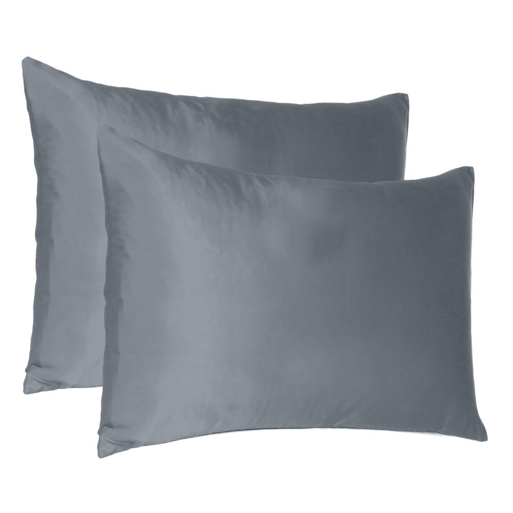 Dark Gray Dreamy Set of 2 Silky Satin Queen Pillowcases - 387909. Picture 1