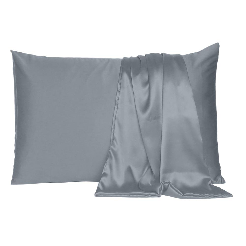 Dark Gray Dreamy Set of 2 Silky Satin Queen Pillowcases - 387909. Picture 2