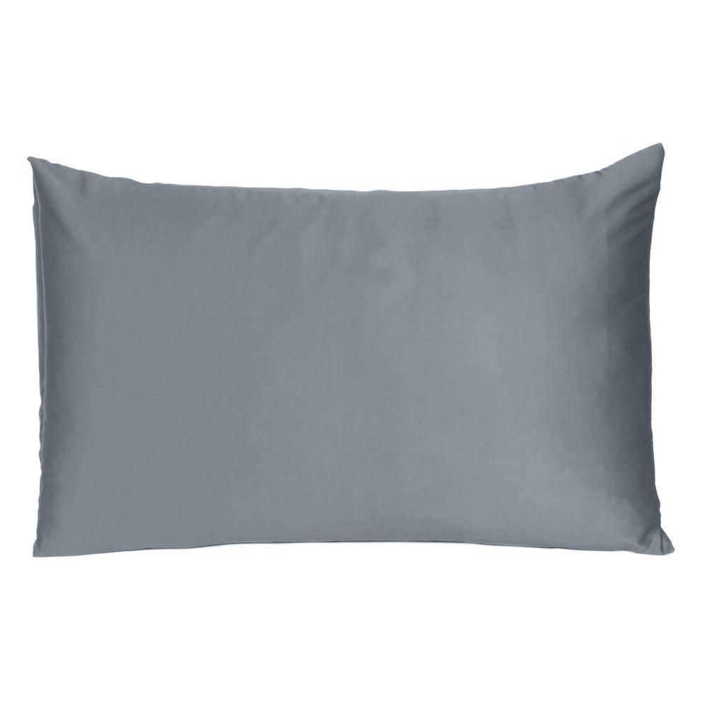 Dark Gray Dreamy Set of 2 Silky Satin Queen Pillowcases - 387909. Picture 3