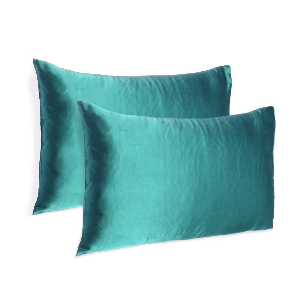 Teal Dreamy Set of 2 Silky Satin Queen Pillowcases - 387910. Picture 1