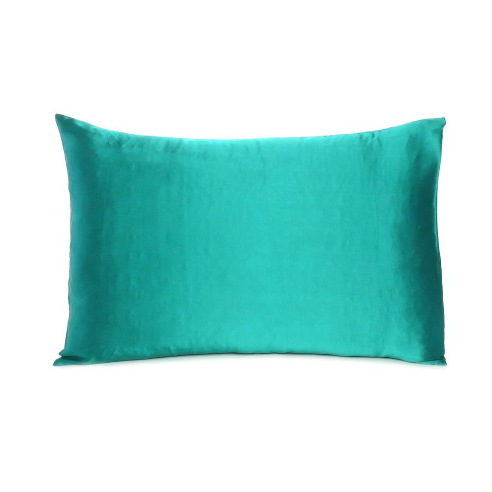 Teal Dreamy Set of 2 Silky Satin Queen Pillowcases - 387910. Picture 3