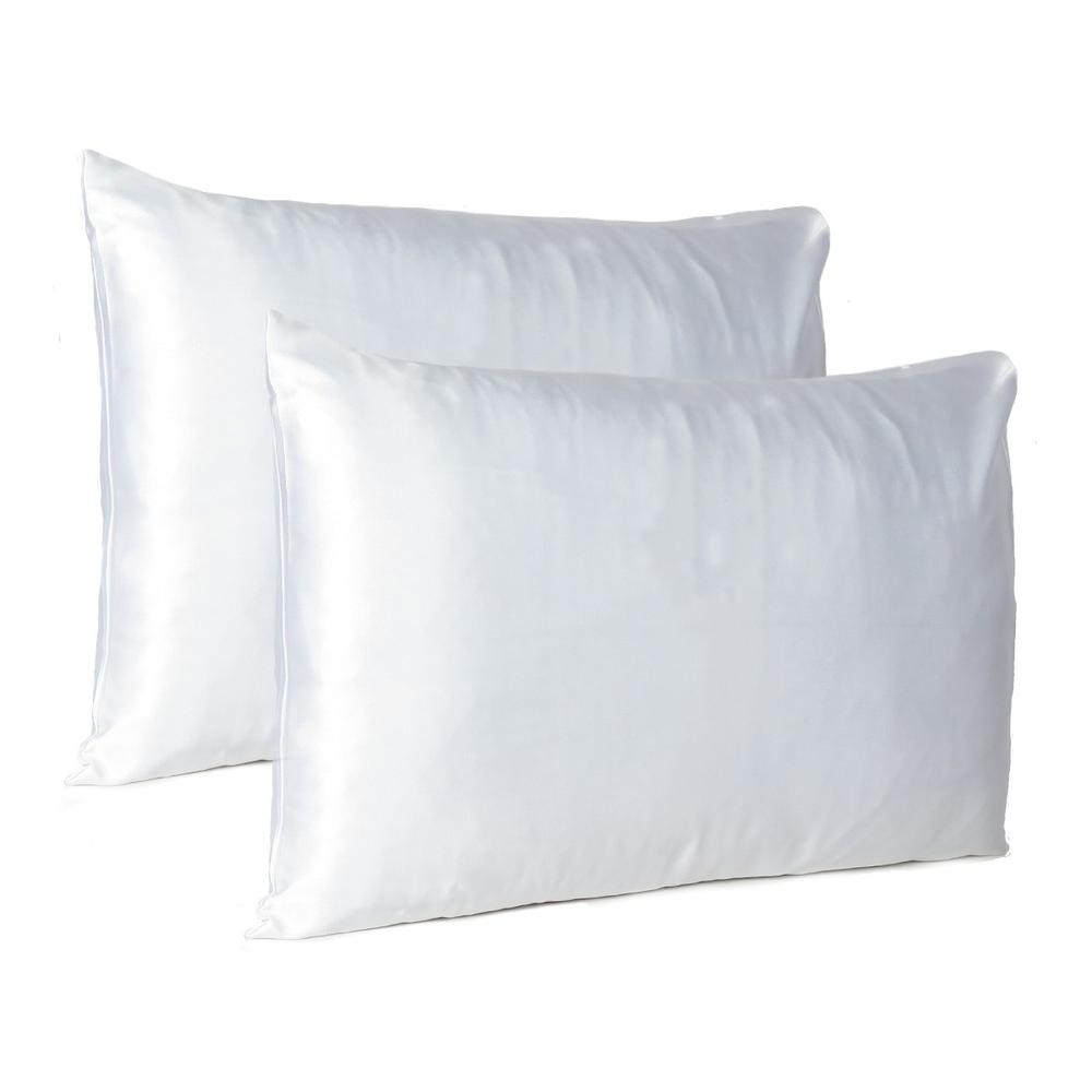 White Dreamy Set of 2 Silky Satin Queen Pillowcases - 387913. Picture 1