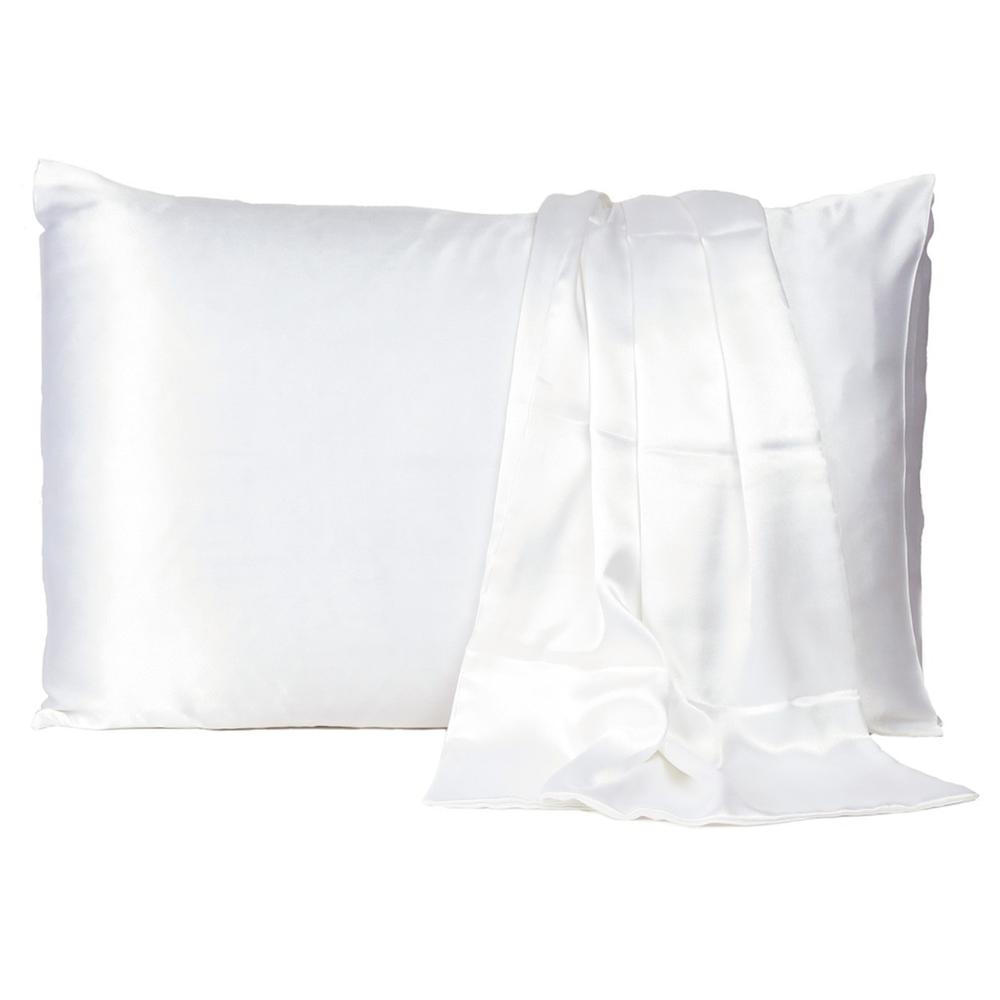White Dreamy Set of 2 Silky Satin Queen Pillowcases - 387913. Picture 2