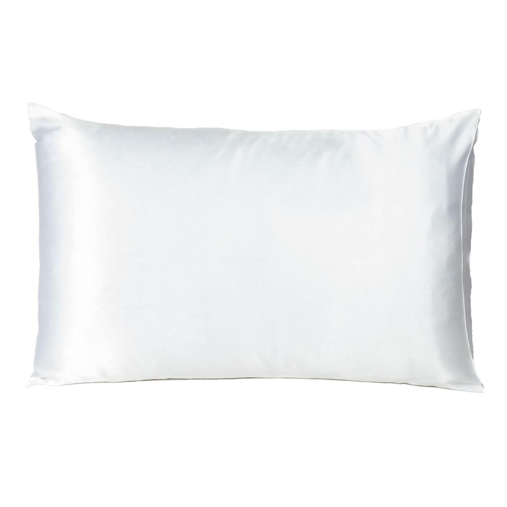 White Dreamy Set of 2 Silky Satin Queen Pillowcases - 387913. Picture 3