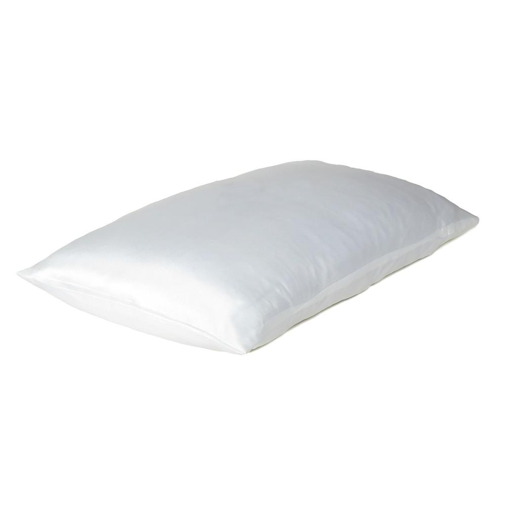 White Dreamy Set of 2 Silky Satin Queen Pillowcases - 387913. Picture 4