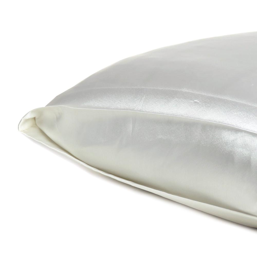 White Dreamy Set of 2 Silky Satin Queen Pillowcases - 387913. Picture 5