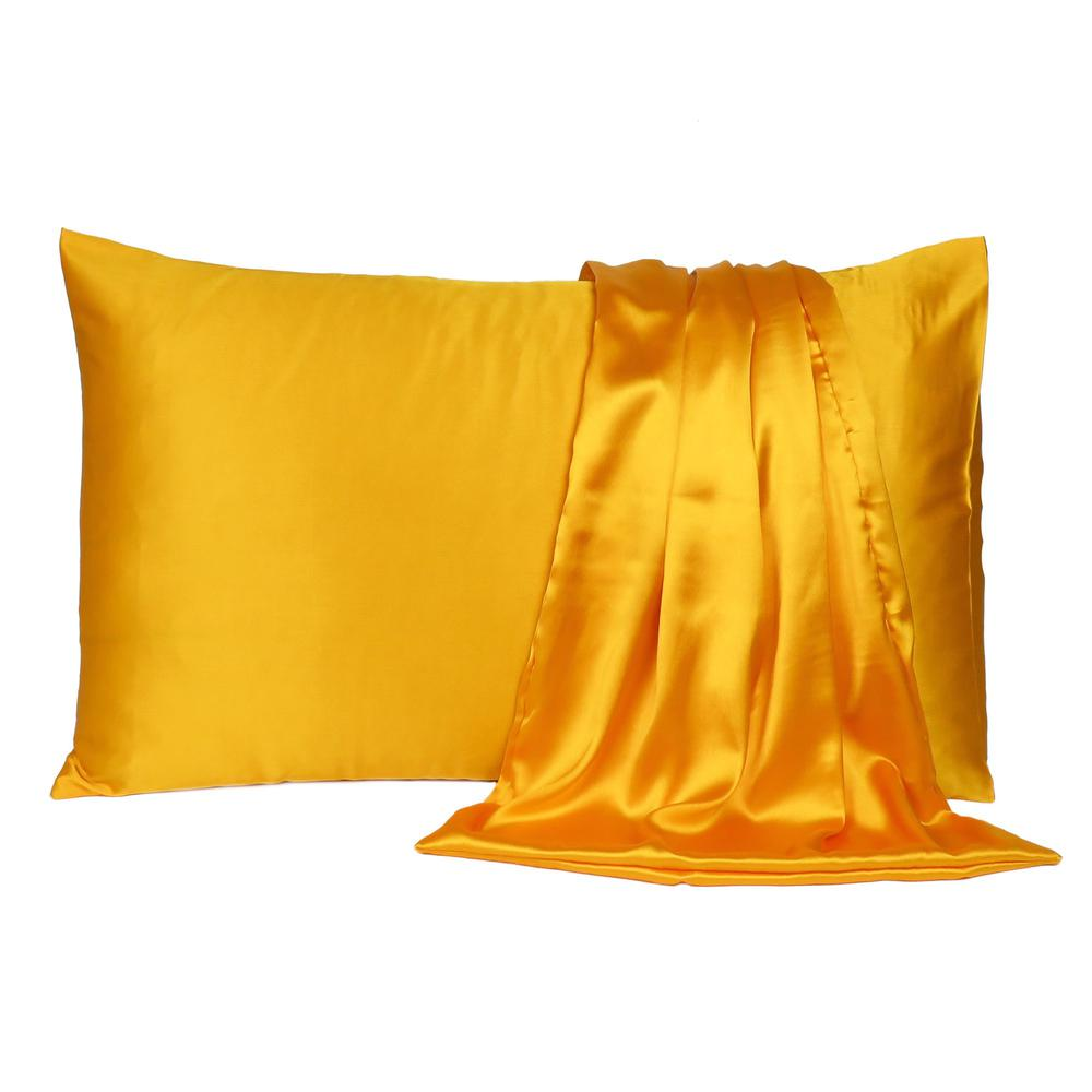 Goldenrod Dreamy Set of 2 Silky Satin Queen Pillowcases - 387914. Picture 2