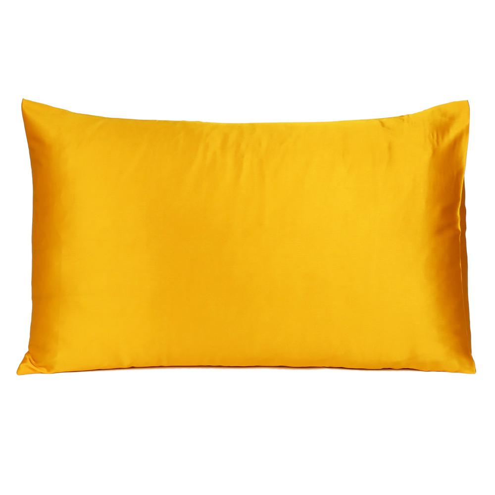 Goldenrod Dreamy Set of 2 Silky Satin Queen Pillowcases - 387914. Picture 3