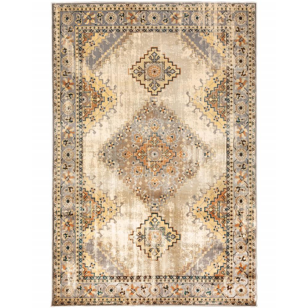 4' x 6' Gray and Beige Aztec Pattern Area Rug - 387925. Picture 1