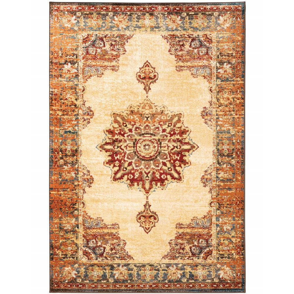 4' x 6' Gold and Orage Floral MedallionArea Rug - 387927. Picture 1