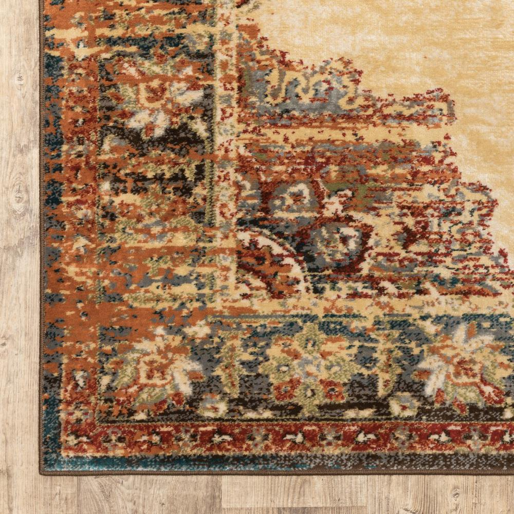 4' x 6' Gold and Orage Floral MedallionArea Rug - 387927. Picture 2