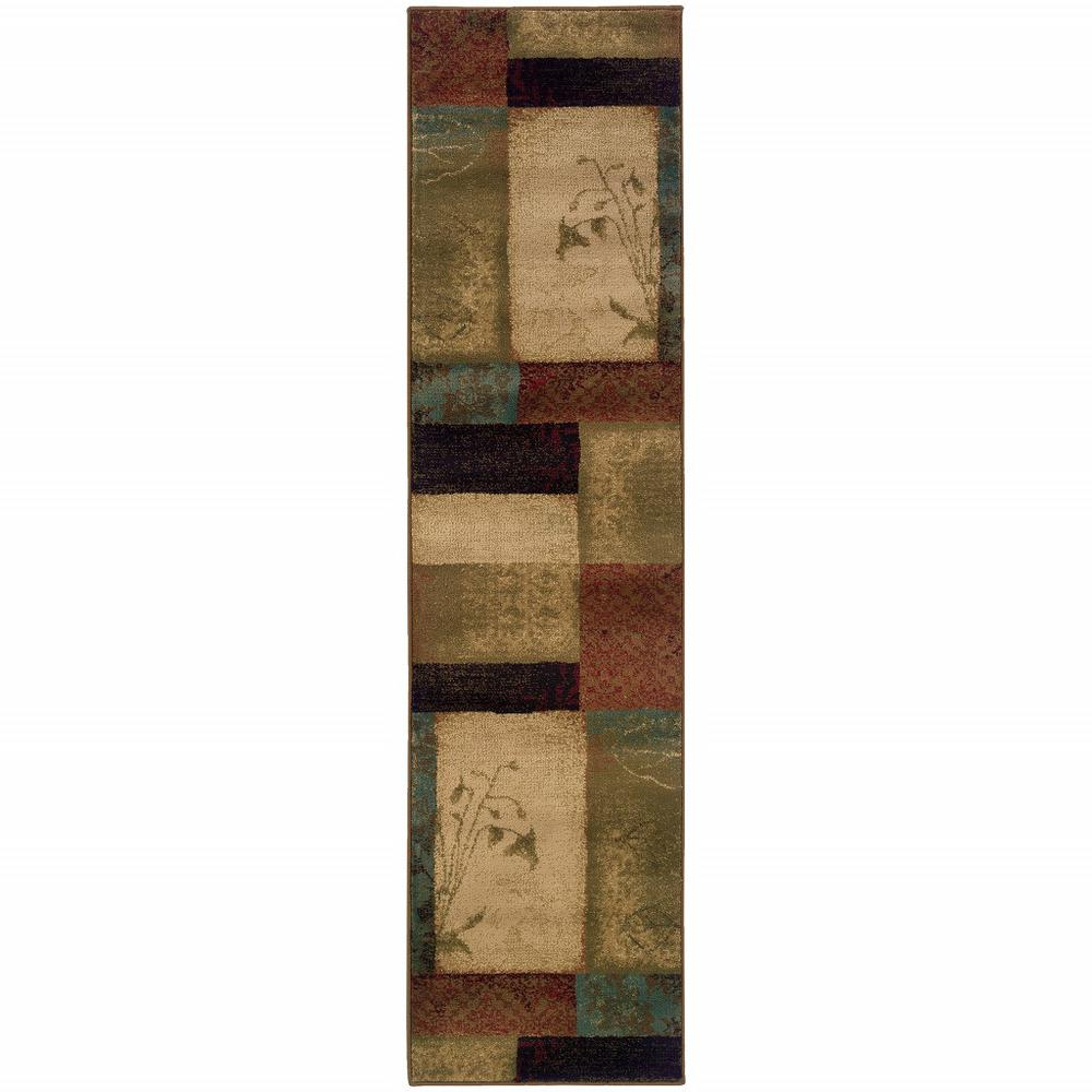2' x 8' Beige and Brown Floral Block Pattern Runner Rug - 387931. Picture 1