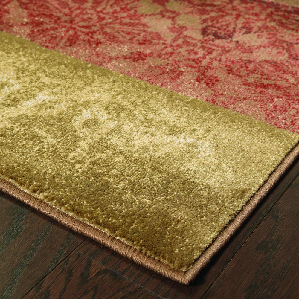 2' x 8' Beige and Brown Floral Block Pattern Runner Rug - 387931. Picture 2