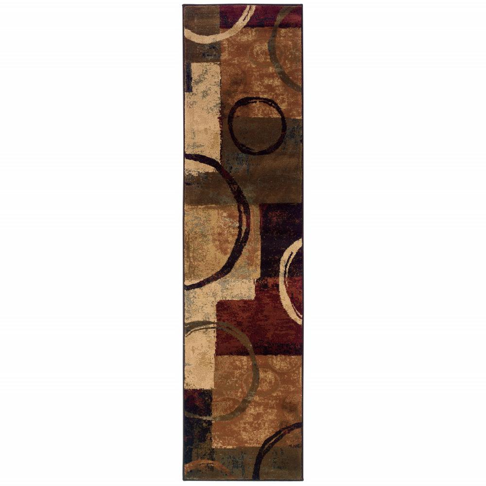 2' x 8' Brown and Black Abstract Geometric Runner Rug - 387933. Picture 1