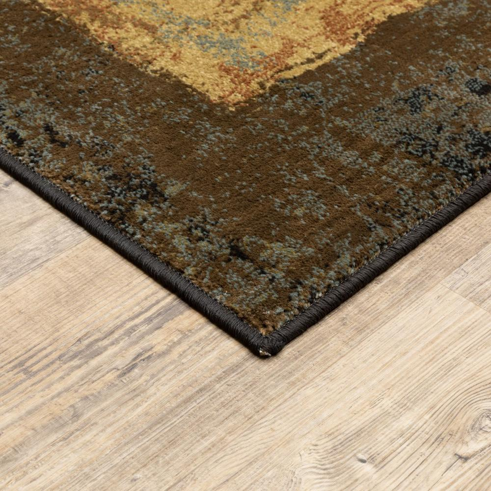 2' x 8' Brown and Black Abstract Geometric Runner Rug - 387933. Picture 2