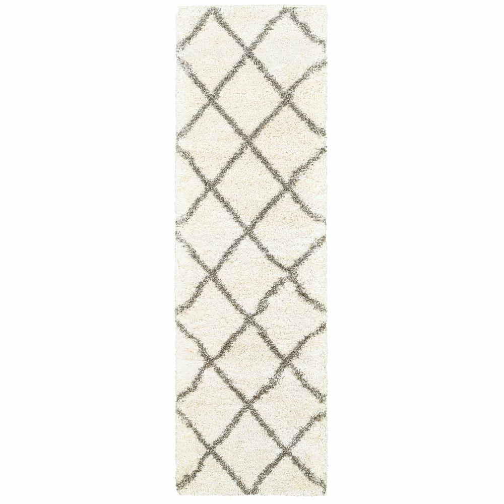 2' x 8' Ivory and Gray Geometric Lattice Runner Rug - 387943. Picture 1