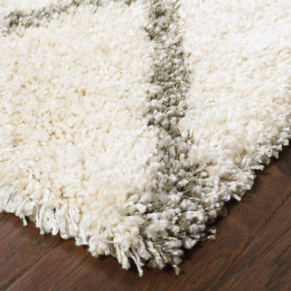2' x 8' Ivory and Gray Geometric Lattice Runner Rug - 387943. Picture 2