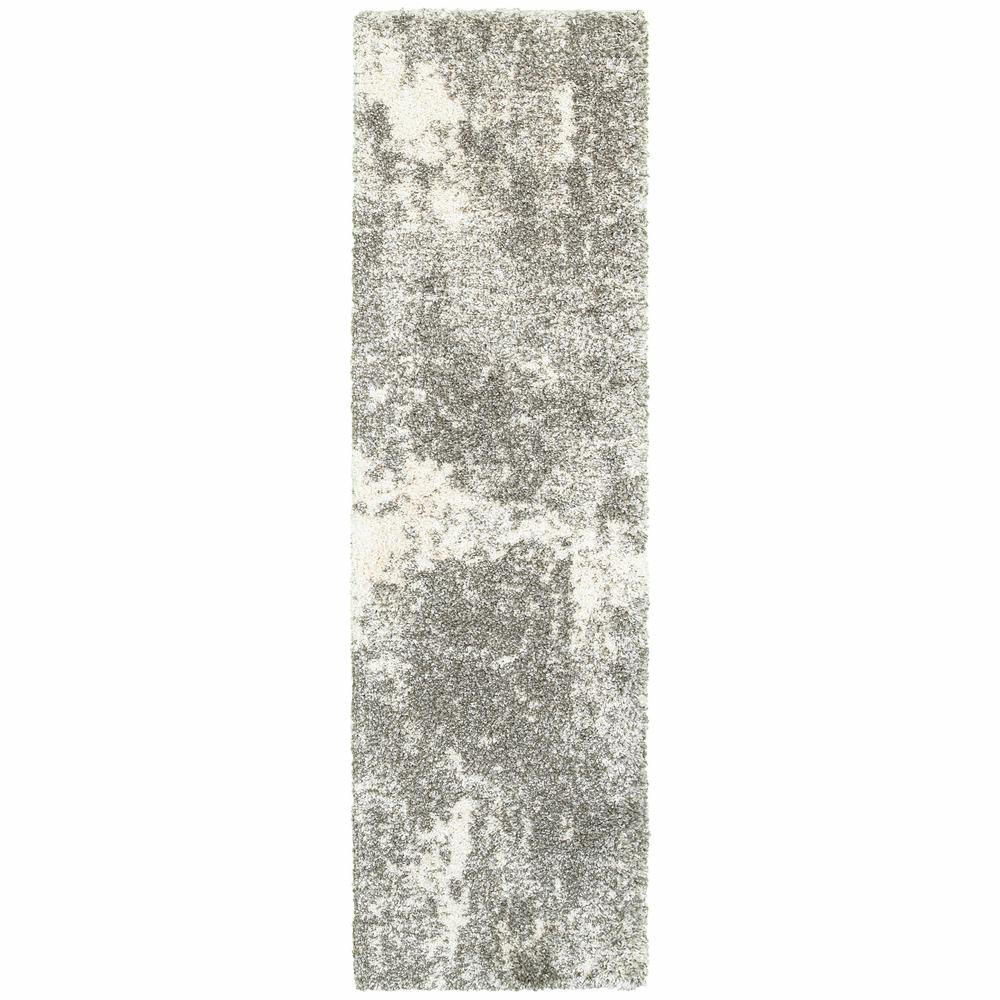 2' x 8' Gray and Ivory Distressed Abstract Runner Rug - 387944. Picture 1