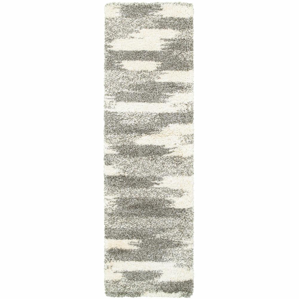 2' x 8' Gray and Ivory Geometric Pattern Runner Rug - 387945. Picture 1