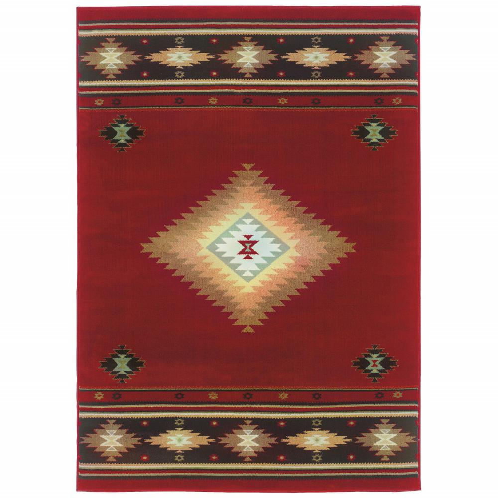5' x 8' Red and Beige Ikat Pattern Area Rug - 387959. Picture 1