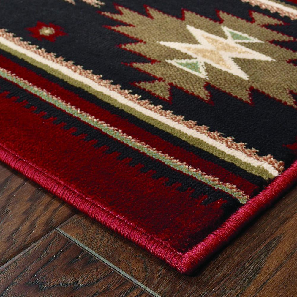 5' x 8' Red and Beige Ikat Pattern Area Rug - 387959. Picture 2