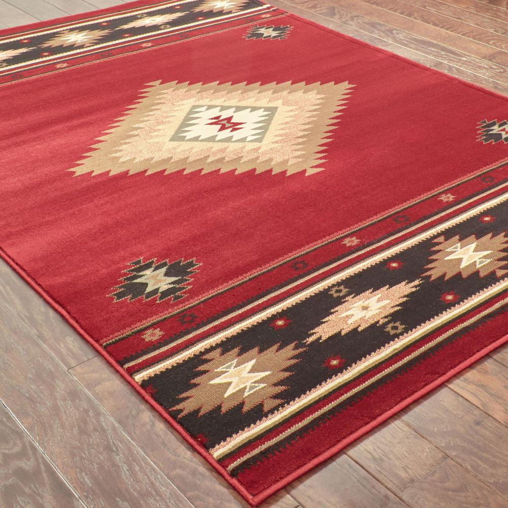 5' x 8' Red and Beige Ikat Pattern Area Rug - 387959. Picture 3