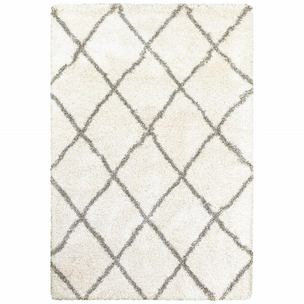 5' x 8' Ivory and Gray Geometric Lattice Area Rug - 387964. Picture 1