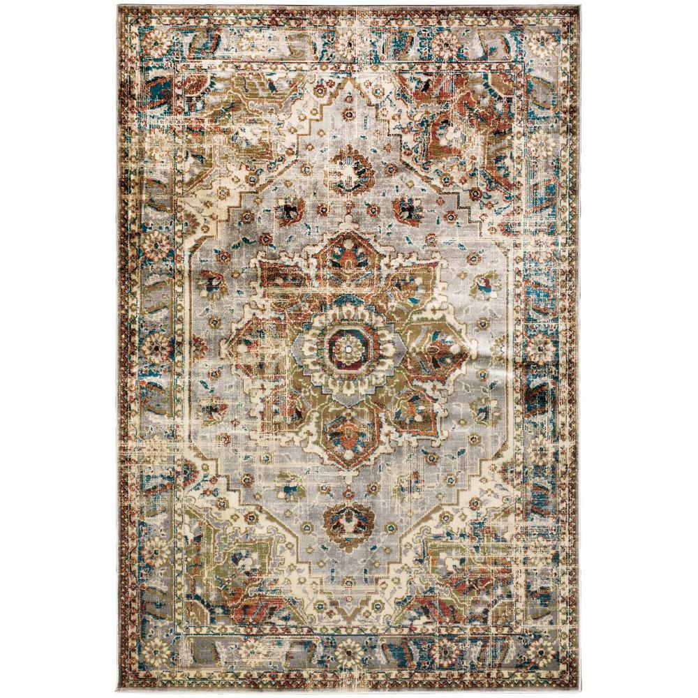 10' x 13' Gray and Rust Distressed MedallionArea Rug - 387968. Picture 1