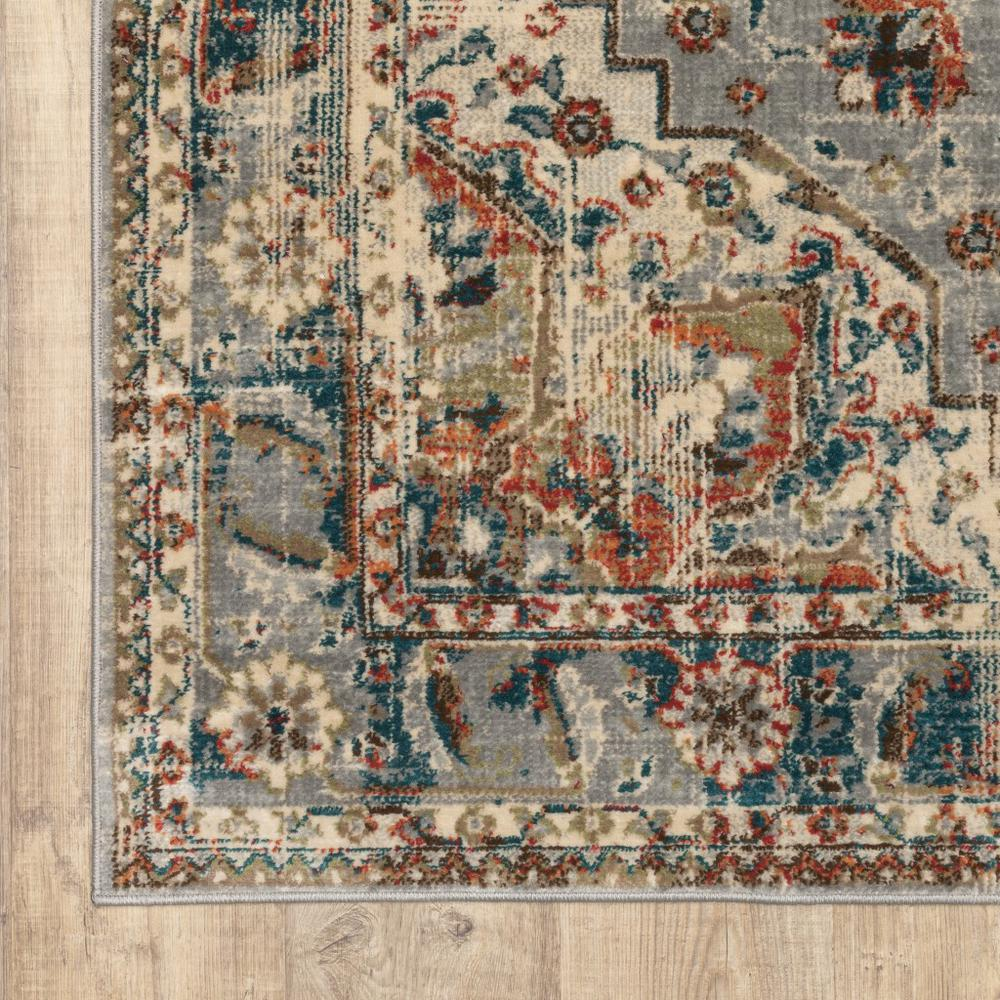 10' x 13' Gray and Rust Distressed MedallionArea Rug - 387968. Picture 2