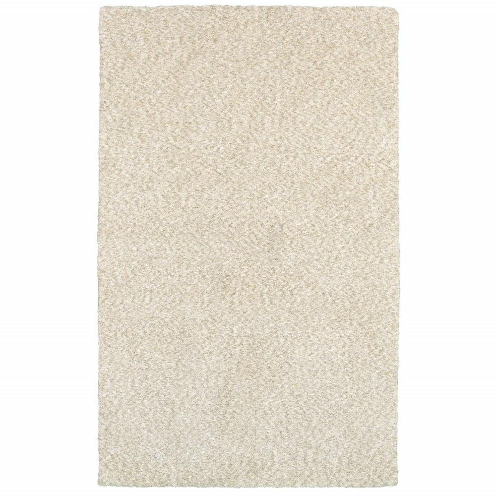 7' x 10' Modern Shag Ivory Indoor Area Rug - 387980. Picture 1