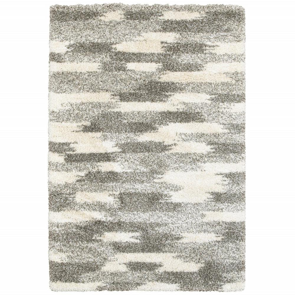 7' x 10' Gray and Ivory Geometric Pattern Area Rug - 387986. Picture 1
