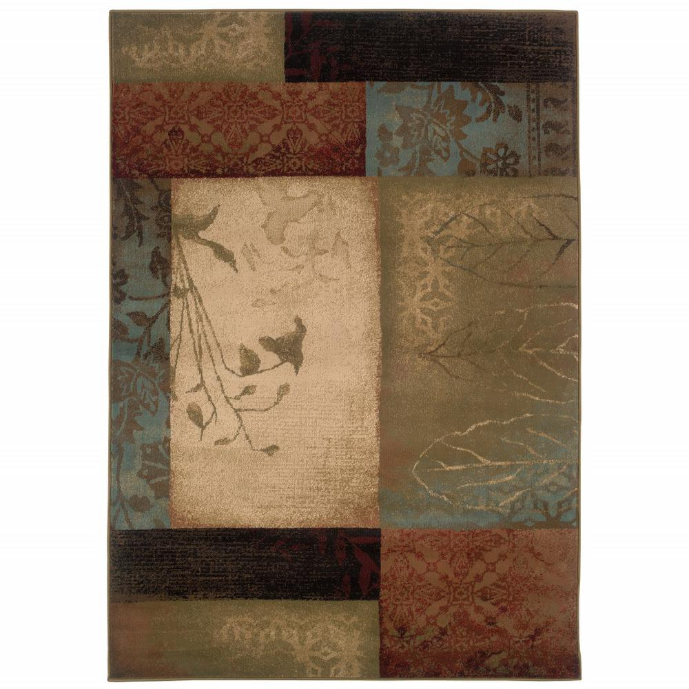8' x 11' Beige and Brown Floral Block Pattern Area Rug - 387988. Picture 1