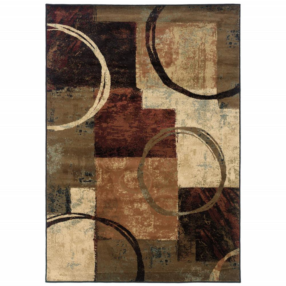 8' x 11' Brown and Black Abstract Geometric Area Rug - 387990. Picture 1