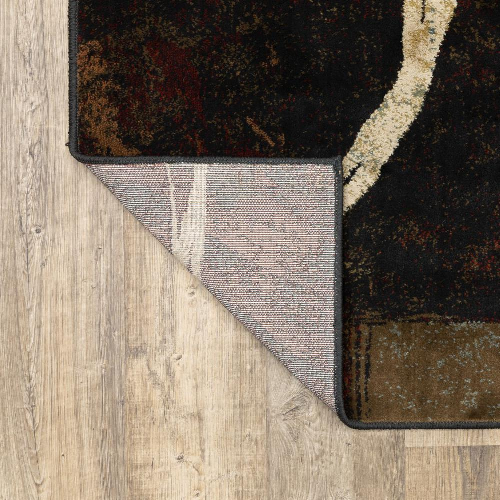8' x 11' Brown and Black Abstract Geometric Area Rug - 387990. Picture 3