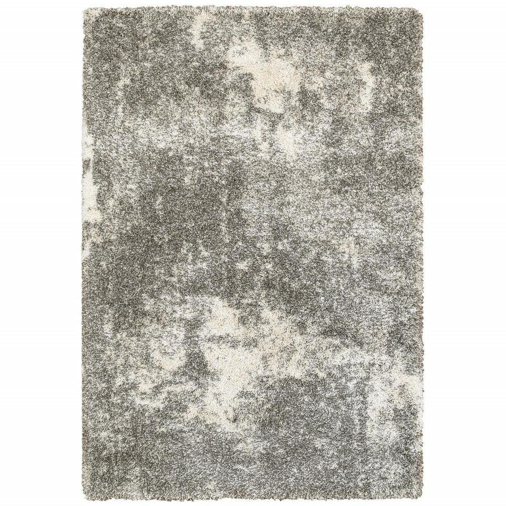 8' x 11' Gray and Ivory Distressed Abstract Area Rug - 387992. Picture 1