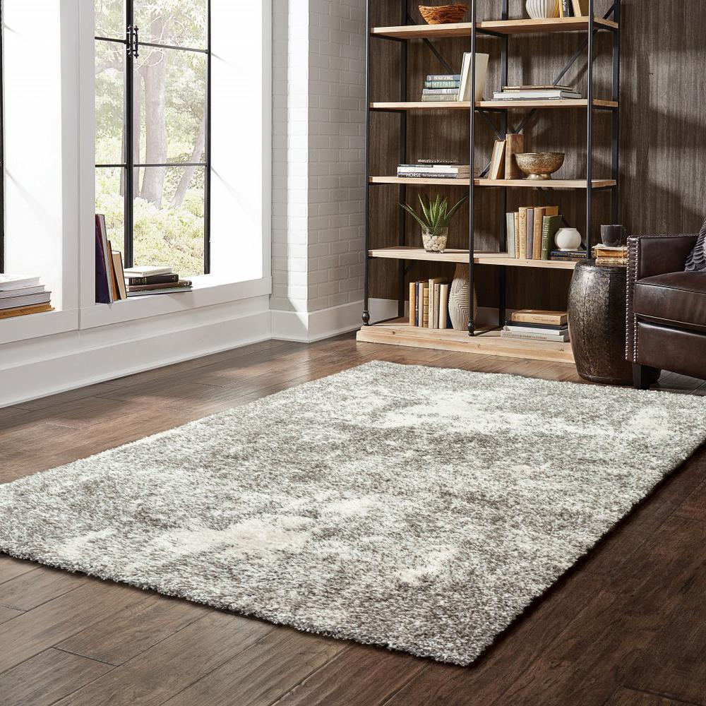 8' x 11' Gray and Ivory Distressed Abstract Area Rug - 387992. Picture 3