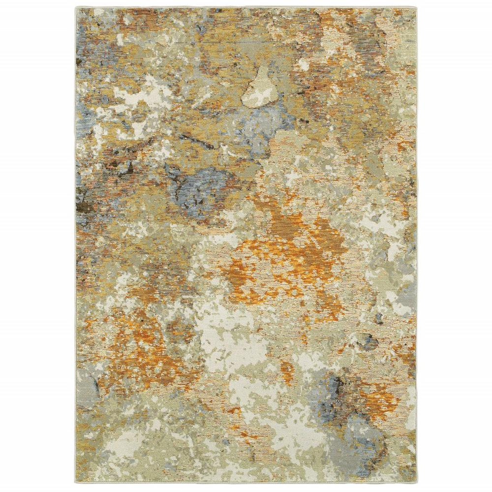2' x 3' Modern Abstract Gold and Beige Indoor Scatter Rug - 388013. Picture 1