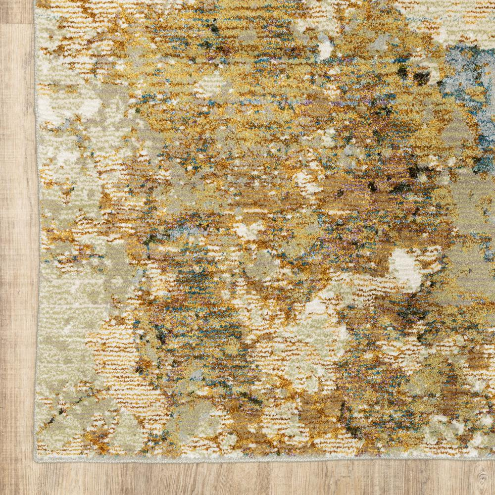 2' x 3' Modern Abstract Gold and Beige Indoor Scatter Rug - 388013. Picture 3