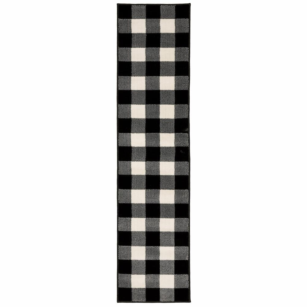 2' x 8' Monochromatic Gingham Pattern Indoor Runner Rug - 388016. Picture 1