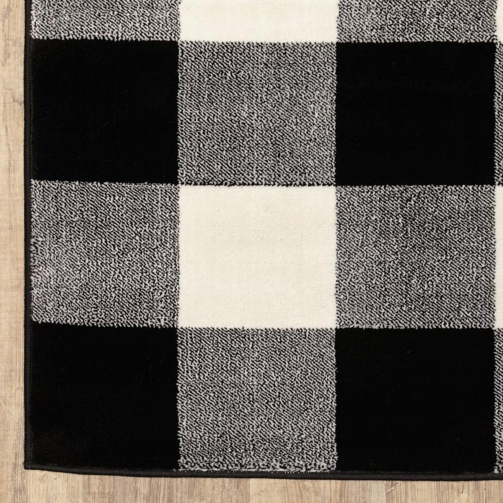 2' x 8' Monochromatic Gingham Pattern Indoor Runner Rug - 388016. Picture 2