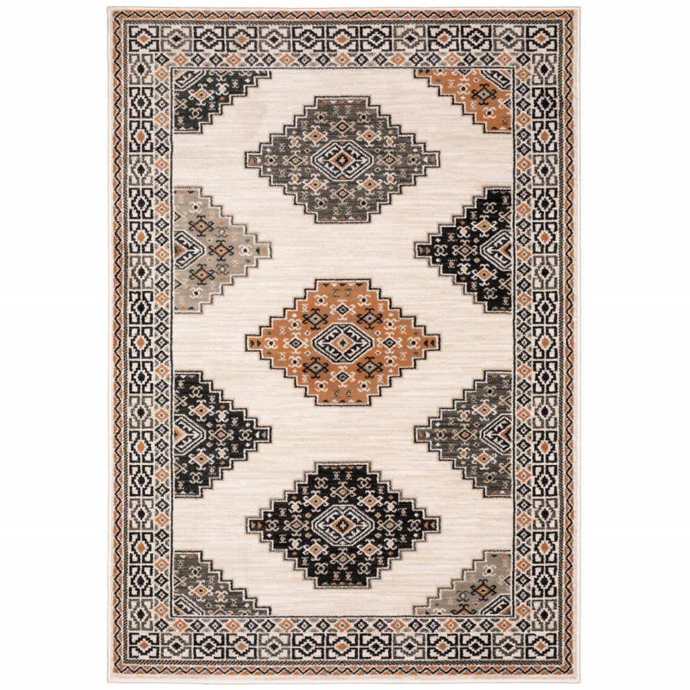 4' x 6' Abstract Ivory and Gray Geometric Indoor Area Rug - 388018. Picture 1