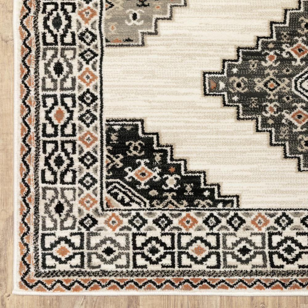4' x 6' Abstract Ivory and Gray Geometric Indoor Area Rug - 388018. Picture 2