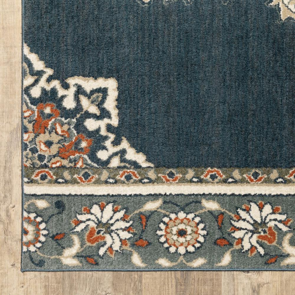 2' x 7' Blue and Beige Floral Medallion Indoor Runner Rug - 388022. Picture 3