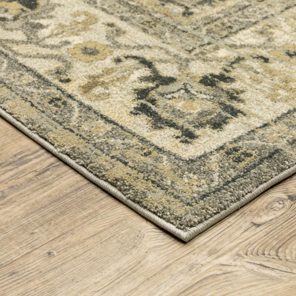 2' x 8' Beige and Gray Traditional Medallion Indoor Runner Rug - 388024. Picture 2